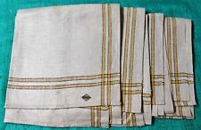Antique 4 Large Linen Kitchen Towels Black & Yellow Stripe Unused Ussr Labels