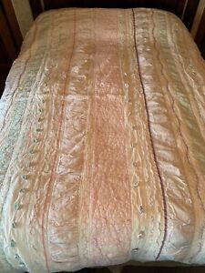 Pottery Barn Kids Bailey Ruffle Twin quilt, pink aqua Cotton Embellished