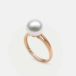 AAAA+ White Genuine Akoya Saltwater Cultured Pearl Ring 18K Rose Gold 8.5-9MM 6#