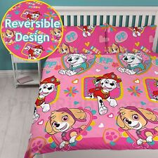 Paw Patrol Forever Double Duvet Cover Set Girls Kids Pink Bedding 2 in 1 Design