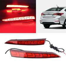 LED Rear Bumper Reflector Light DRL Fog Kit For Hyundai Solaris Accent 2018
