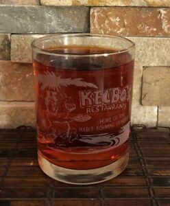 Rare KELBO'S Restaurant Promotional Whiskey Glass Last Week Before Closing 8 Oz