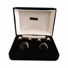Cuff-links & Tuxedo Studs Gift Set, Gold-tone, Faux Onyx, Velveteen Box
