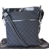 Authentic GUCCI GG Pattern Shoulder Bag Canvas Leather Black Italy 65EX244