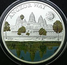 """2010 Cambodia ANGKOR WAT Silver Coin, $5 Palau """"World of Wonders"""" COA"""