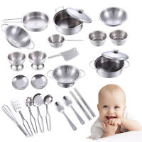 Childrens Kids kitchen Toys Food Learning Stainless Steel Cooking Utensils UK