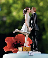 A Kiss and We're Off Funny Couple Wedding Cake Topper