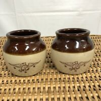 Vintage Glazed Pottery Stoneware Crock Bean Pot EAGLE BROWN LOT Tan Brown USA
