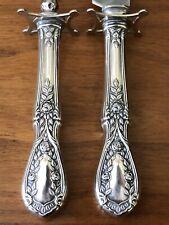 Vintage Sterling Silver Victorian Rose Bouquet Garland Meat Carving Serving Set