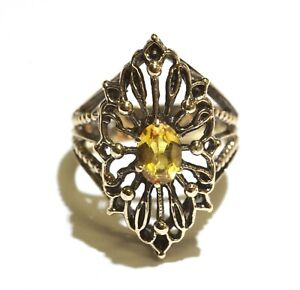 14k yellow gold vintage Natural oval citrine ring 7.1g estate size 7.25