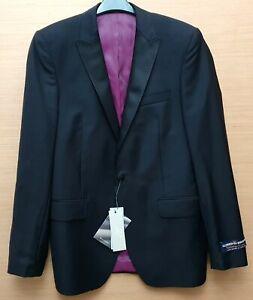 "M & S Alfred Brown Mens Black Wool Tuxedo Jacket Size 38"" Long MRRP £180-00"