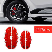 4x 3D Red Car Universal Disc Brake Caliper Covers Front & Rear Accessories