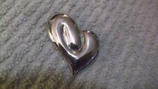 "Vintage Silvertone Heart Shaped Pin 1 1/2"" x 1 3/4"""