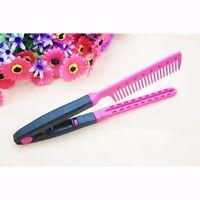 DIY Salon Hairdress Styling V Comb Hair Straightener Flat Irons Straightening