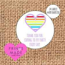 Party bag stickers personalised x24 rainbow stripes thank you sweet cone labels