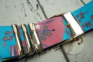 VERSACE H&M RARE BLUE FLORAL LEATHER WAIST BELT XS W 24-26 UK 6-8 EU 32-34 ITALY