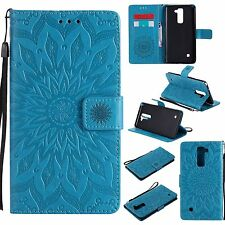 3D Sun Flower Flip Leather Wallet Card Stand Phone Case Cover For LG Cell Models