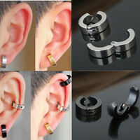 Men's Punk Cool Earrings Fashion Steel Clip On Non-Piercing Ear Stud Cuff Hoop