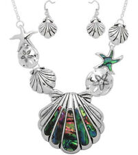 Sea Life Necklace and Earrings Set Abalone Shell Sand Dollar Starfish