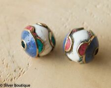 Tibetan Naga Conch shell Beads with Turquoise Coral and Lapis Inlay Nepal 18mm