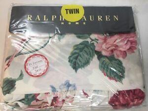 Rare Vintage Ralph Lauren LORRAINE Flat Sheet Twin Ruffled Flower Pink Rose NWT