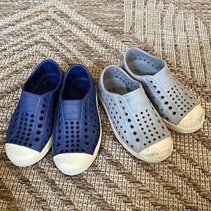 NATIVE Jefferson Shoes Lot Blue & Gray  Kids Size C9 Slip On Waterproof Play