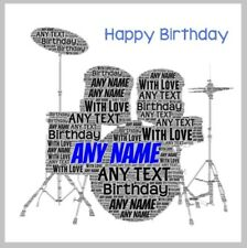 Personalised happy birthday card drums drum kit drummer teenager music any text