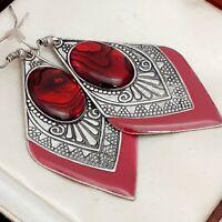 Vintage Art Deco Style Geometric Large Dangle Red Abalone Shell Pierced Earrings
