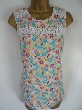 Floral Sleeveless Top Size 14 Yellow Pink Turquoise 100 Cotton Lace Crochet