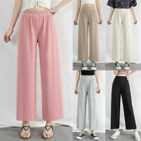 Womens Trouser Elastic Waist Ice Silk wide leg High waist Pants Nine Point Pants