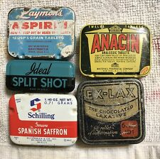 Vintage Small Tins-Aspirin-spice-fishing weights