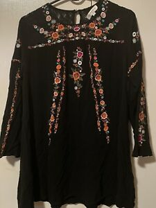 Umgee XL Boho Hippie Embroidered Black Tunic Lined 40 Chest 30 Long