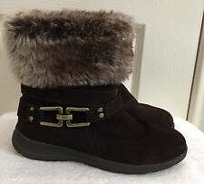 Womens WHITE MOUNTAIN Brown Suede & Faux Fur Ankle Boots SIZE US 7.5 M ~EUC~