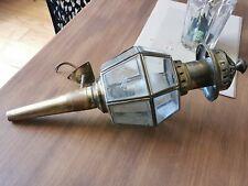 Ancienne LAMPE LANTERNE de CALÈCHE Fiacre - verres biseautés et gravés - XIXe