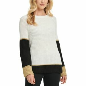 DKNY Women's Ivory/black/gold Metallic Colorblocked Crewneck Sweater Top XL TEDO