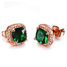 Elegant Jewelry Gift Square Emerald Topaz Gems Rose Gold Plated Stud Earrings