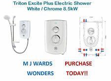Triton Excite Plus Electric Shower White / Chrome 8.5kW  ** PURCHASE TODAY **