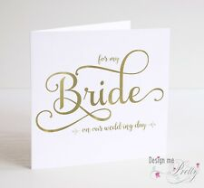 Beautiful FOR MY BRIDE Wedding Day Card -   Bride To Be Groom Marriage Wife