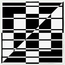 VZKX Channel Bandana, 24x24, Abstract Retro Deco Black & White Geometric Pattern