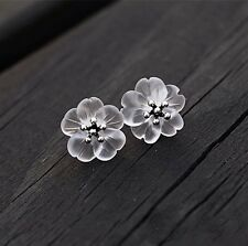 925 Sterling Silver Handmade Natural Clear Crystal Quartz Flower Stud Earrings