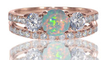 14k Rose Gold Round Turquoise Opal Engagement Wedding Sterling Silver Ring Set