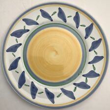 "Williams Sonoma TOURNESOL Italy Set of 7 Dinner Plates 11"" Yellow Center Blue"