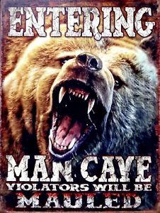 Entering Man Cave, Retro metal Aluminium Sign vintage / Man Cave / Garage