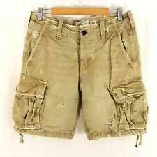 Abercrombie & Fitch Mens Cargo Shorts Distressed Cotton Beige Size 32