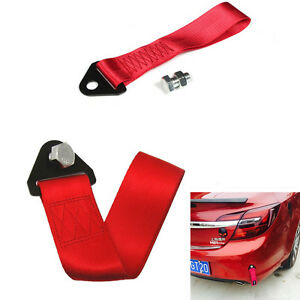 Car SUV Front/Rear Bumper Hook Hauling Rope High Strength Nylon Towing Strap Red
