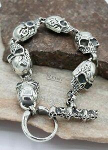 Totenkopf Silber 925 Biker Armband Skull Kelten Wikinger Vikings 21 cm 49 Gramm