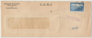 Vancouver, BC 1939 registered OHMS perfin stamp franked cover to Trail, BC