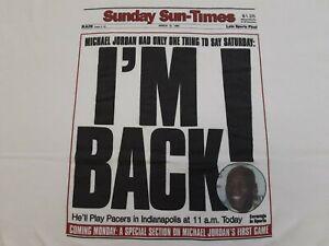 VTG 1995 Chicago Sunday Sun-Times Bulls Michael Jordan I'M BACK T Shirt X-Large