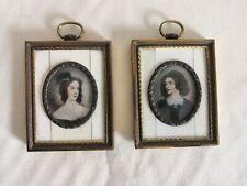 Pair of  C19th Continental Miniature Female Portraits in Gilt Frames - 9cm x 7cm
