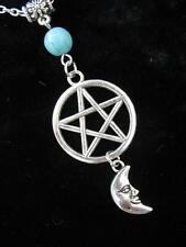 Plata Celta Pentáculo Moon Collar gótico Wicca Pagano fútbol Turquesa Fantasía Crescent